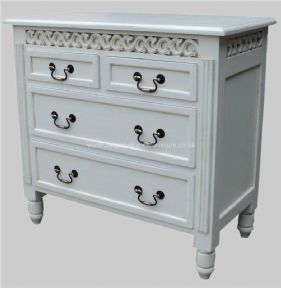 Sandrine 4 Drawer Fret Work French Chest in your choice of colour